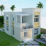 Thiết kế nhà ở mái bằng 2 tầng kiểu dáng hiện đại