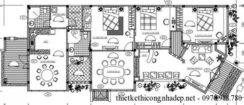 Mặt bằng biệt thự vườn 1 tầng