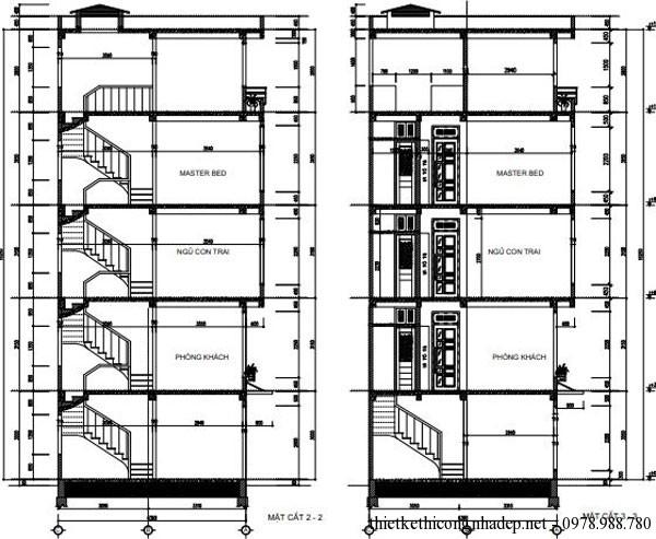 Mặt cắt của căn nhà,cầu thang