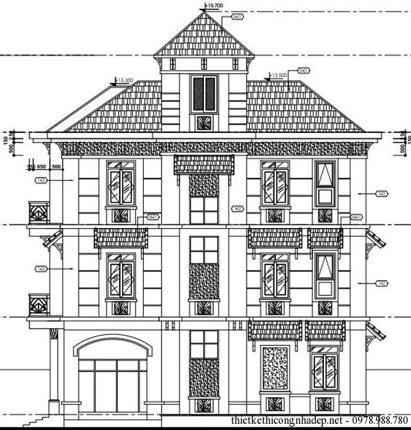 Mặt đứng trục A-F biệt thự 3 tầng