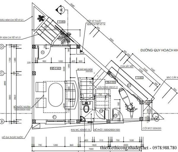 mặt bằng tầng 1 nhà hình tam giác