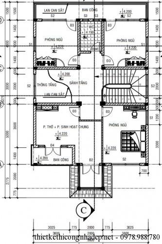 mặt bằng tầng 2 biệt thự 2 tầng
