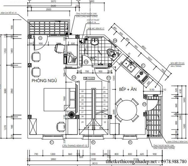 mặt bằng tầng 2 có diện tích 6x8m