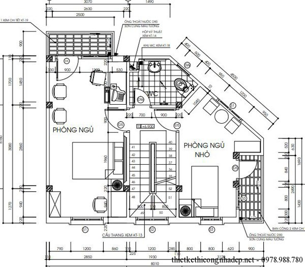 mặt bằng tầng 3 có diện tích 6x8m