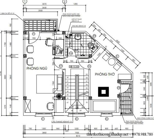 mặt bằng tầng 4 có diện tích 6x8m