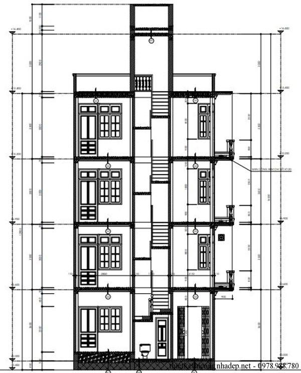 mặt cắt nhà diện tích 6x8m