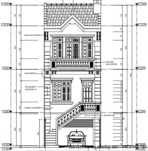 Thiết kế nhà phố 3 tầng mái thái diện tích 5x20m