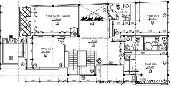 Mặt bằng tầng 2 biệt thự 3 tầng