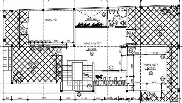 Mặt bằng tầng 3 biệt thự 3 tầng