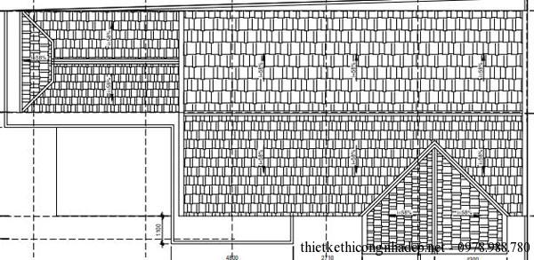 Mặt bằng mái biệt thự 3 tầng