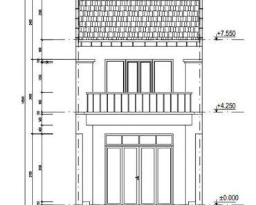 Thiết kế nhà phố 2 tầng mái thái hiện đại 5.7 x 36.7