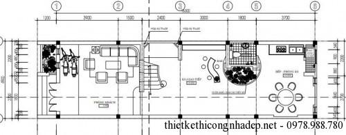 mặt bằng tầng 1 nhà ống 3 tầng