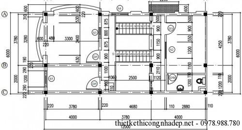 Mặt bằng tầng 3 nhà phố 7x12m