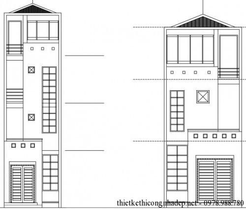 Thiết kế nhà ống 3 tầng lợp mái tôn mẫu nhà 5x16m