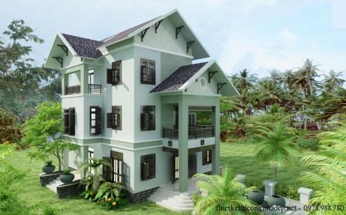 Thiết kế biệt thự 3 tầng mái thái đẹp hiện đại 13.23×16.57m