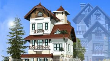 Thiết kế biệt thự cổ điển pháp 4 tầng 8.4×11.4m