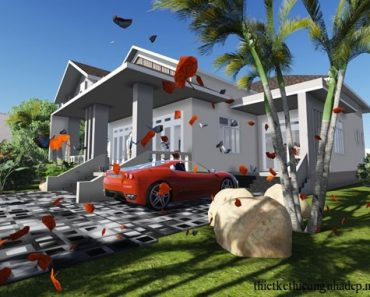 Phối cảnh thiết kế biệt thự cấp 4 nhà vườn góc 3