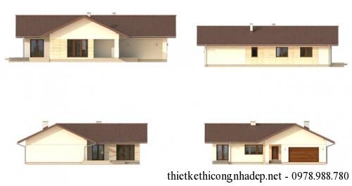 Các mặt đứng, mặt bên nhà cấp 4 mái tôn
