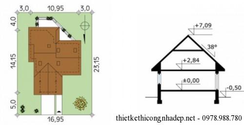 mặt bằng mái và chiều cao nhà