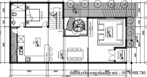 Mặt bằng tầng 1 nhà 1,5 tầng