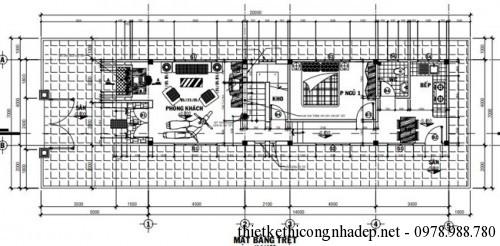 mặt bằng tầng 1 nhà cấp 4 gác lửng