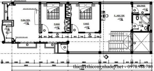 Mặt bằng tầng 2 nhà phố 2 tầng
