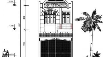 Bản vẽ thiết kế kiến trúc, mặt bằng nhà phố 2 tầng 5x17m