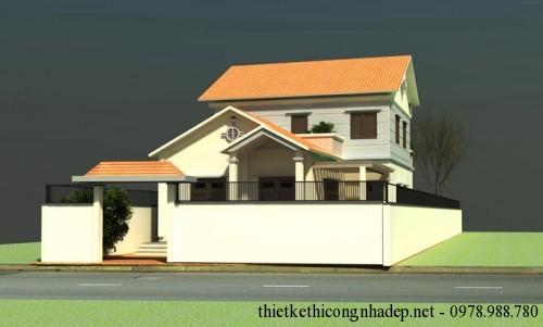 Mẫu nhà 1.5 tầng ở nông thôn mái thái rộng 8m