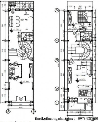 mặt bằng tầng 1 và tầng 2