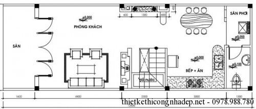 mặt bằng tầng trệt nhà cấp 4 mái tôn