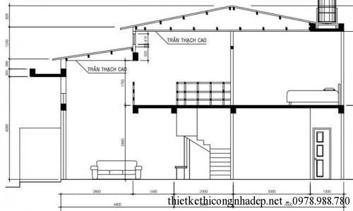 mặt cắt nhà cấp 4 mái tôn