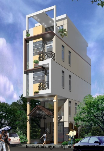 Phối cảnh kiến trúc nhà phố 4 tầng đẹp phương án 2