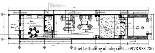 mặt bằng tầng 1 nhà phố 4.5x18m