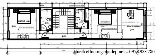 mặt bằng tầng 2 nhà phố 4.5x18m