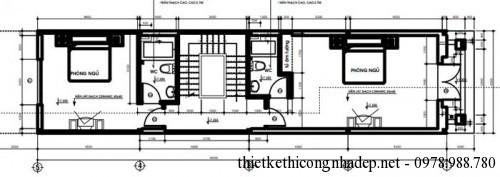 mặt bằng tầng 3 nhà phố 4.5x18m