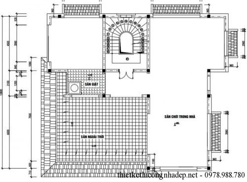 mặt bằng tầng 4 biệt thự cổ điển