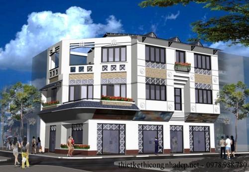 Mẫu nhà phố 3 tầng mái thái độc đáo 2 mặt tiền đẹp