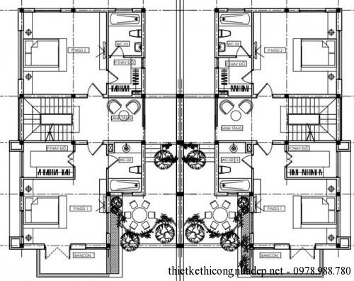 mặt bằng tầng 2 biệt thự song lập