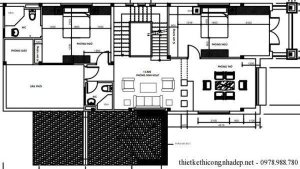 biệt thự 2 tầng 7.2x17m mái thái 3