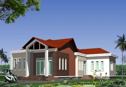 Thiết kế biệt thự nhà vườn, nhà cấp 4 ở nông thôn 10x21m