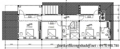 mặt bằng tầng 2 biệt thự 7x21m