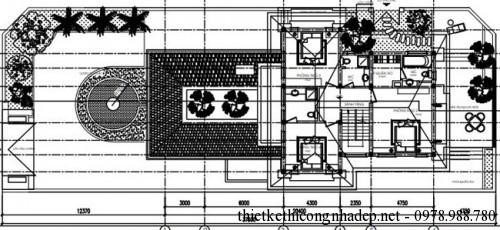 mặt bằng tầng 2 biệt thự vườn 11x20.5m