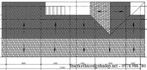 mặt bằng tầng mái biệt thự 7x21m