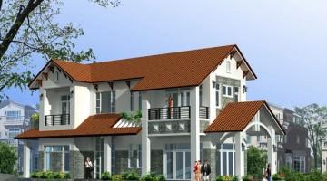 Thiết kế biệt thự 2 tầng 2 mặt tiền mái thái hiện đại 7x21m