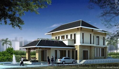 Mẫu biệt thự nhà vườn 2 tầng mái thái 11×20.5m