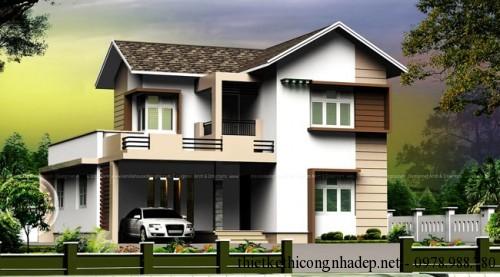 Thiết kế kiến trúc mẫu biệt thự 2 tầng đẹp hiện đại