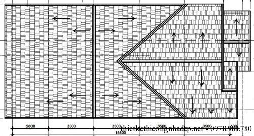 Mặt bằng mái nhà cấp 4 7.5x18m