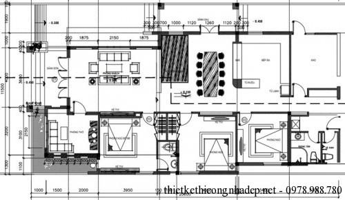 Mặt bằng nhà cấp 4 11.5x21m