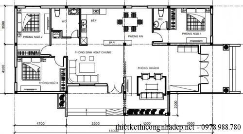 Mặt bằng nội thất nhà cấp 4 8x18m