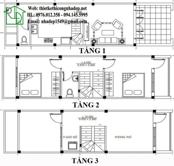 Mặt bằng nội thất nhà phố 3 tầng 3.5x13m